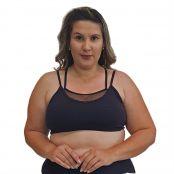 Foto 1 Top Fitness Plus Size com Alças Finas Duplas Preto e Detalhe em Tela Verde Militar