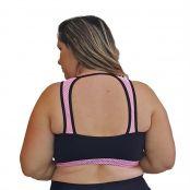 Foto 2 Top Fitness Plus Size em Suplex Preto com Detalhe em Tela Rosa Fluorescente nas Alças