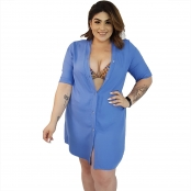 Foto 1 Vestido Chemise de Viscose Curta com Manga 3/4 e Botões Azul Claro