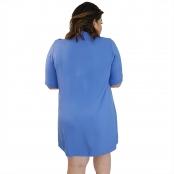 Foto 3 Vestido Chemise de Viscose Curta com Manga 3/4 e Botões Azul Claro