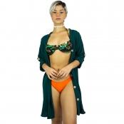 Foto 2 Vestido Chemise de Viscose Curta com Manga 3/4 e Botões Verde Musgo