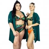 Foto 3 Vestido Chemise de Viscose Curta com Manga 3/4 e Botões Verde Musgo