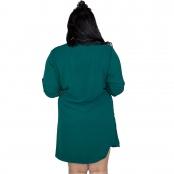 Foto 4 Vestido Chemise de Viscose Curta com Manga 3/4 e Botões Verde Musgo