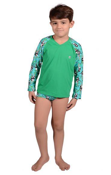 Camiseta Uv Praia Infantil Panda