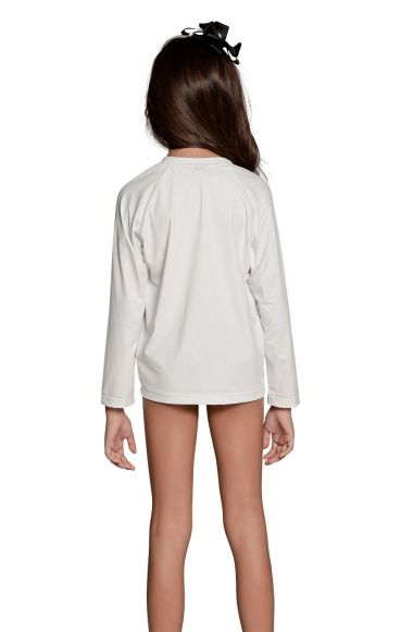 Camiseta Uv Praia Infantil Feminina Branca