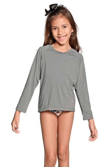 Camiseta Uv Praia Infantil Feminina Cinza
