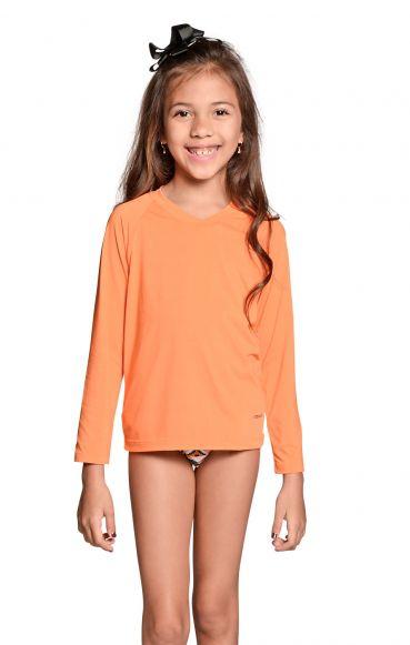 Camiseta UV Praia Infantil Feminina Laranja