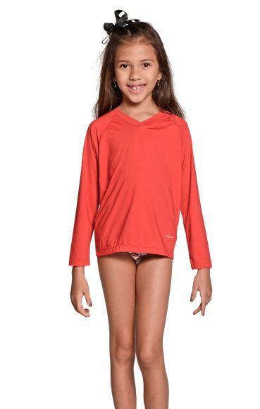 Camiseta Uv Praia Infantil Feminina Vermelha