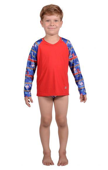 Camiseta Uv Praia Infantil Navy