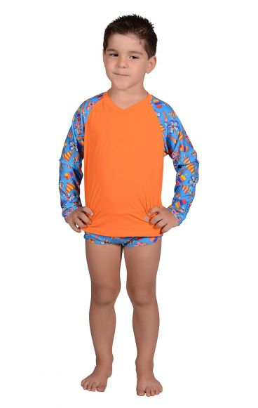 Camiseta Uv Praia Infantil Sorvete Azul
