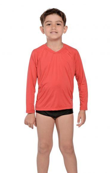 Camiseta Uv Praia Infantil Vermelha