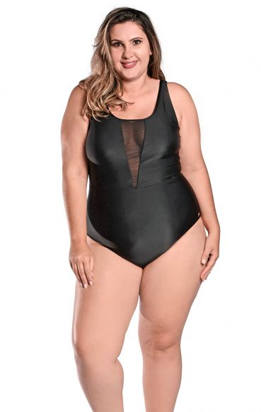 Maiô Body Plus Size Tule Helena Preto