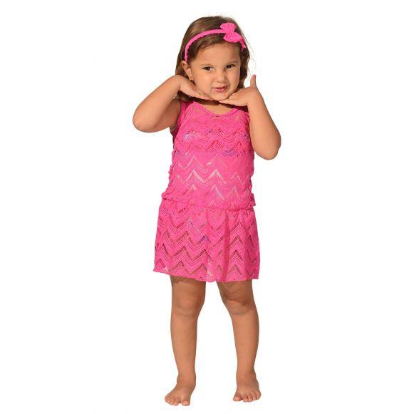 Saída de Praia Infantil de Renda Pink