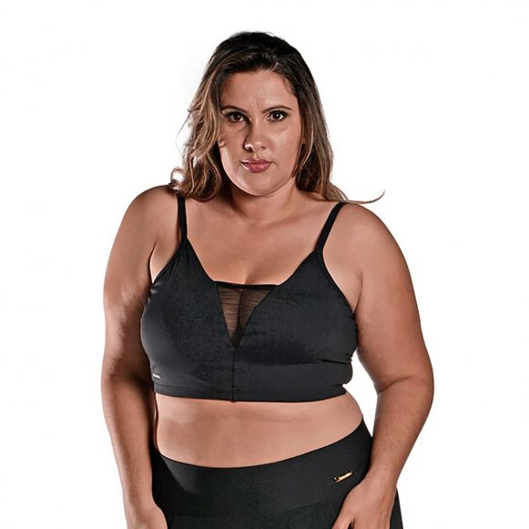 Top Plus Size Bojo Tule Preto