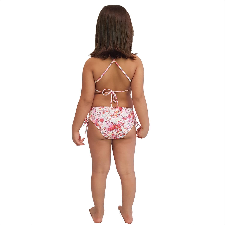 Biquíni Infantil Cropped e Calcinha Larga com Franzido nas Laterais Borboleta