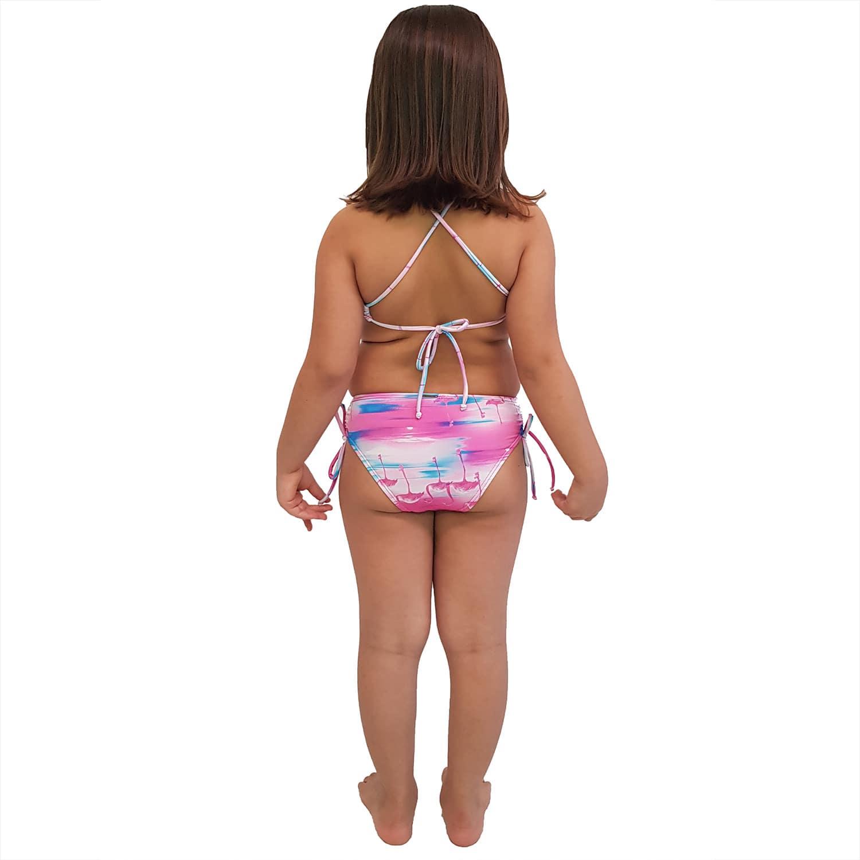 Biquíni Infantil Cropped e Calcinha Larga com Franzido nas Laterais Flamingo