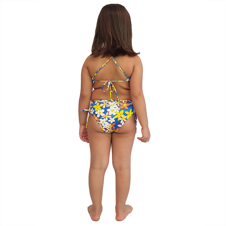 Biquíni Infantil Cropped e Calcinha Larga com Franzido nas Laterais Jeans