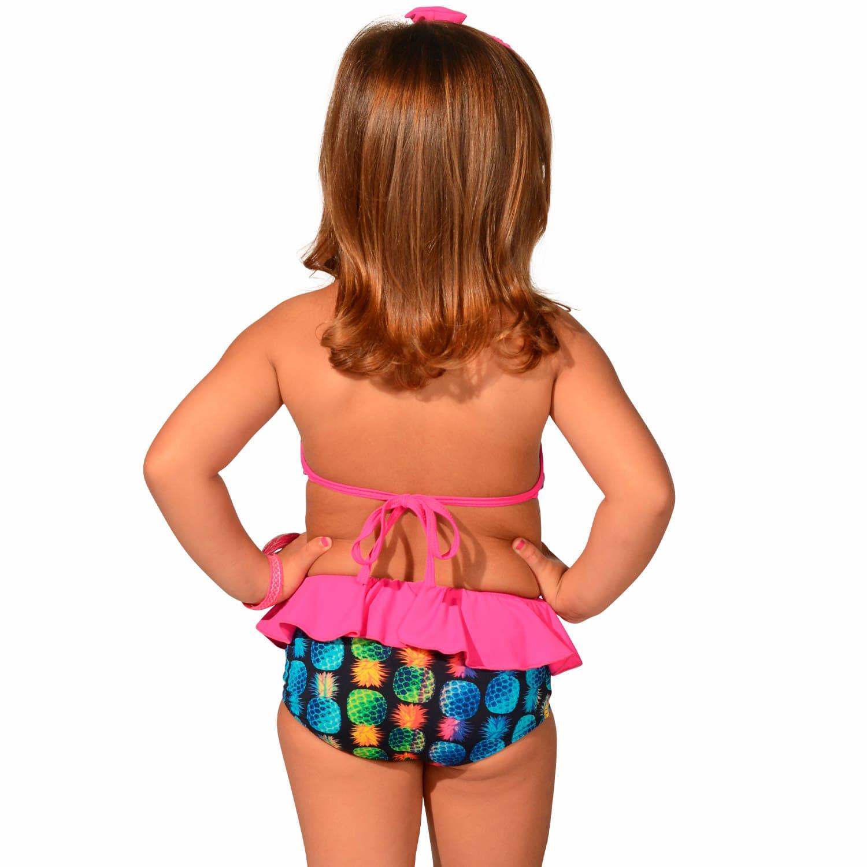 Biquíni Infantil Cropped Frente Única com Babados e Calcinha com Babado Abacaxi