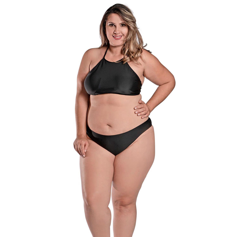 Biquíni Plus Size Frente Única Cropped com Bojo Removível e Calcinha Larga Básica Preto