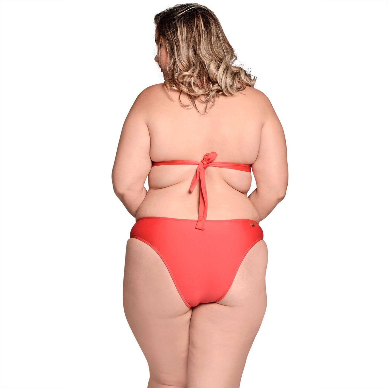 Biquíni Plus Size Frente Única com Bojo e Alças Largas e Calcinha Larga Básica Vermelho