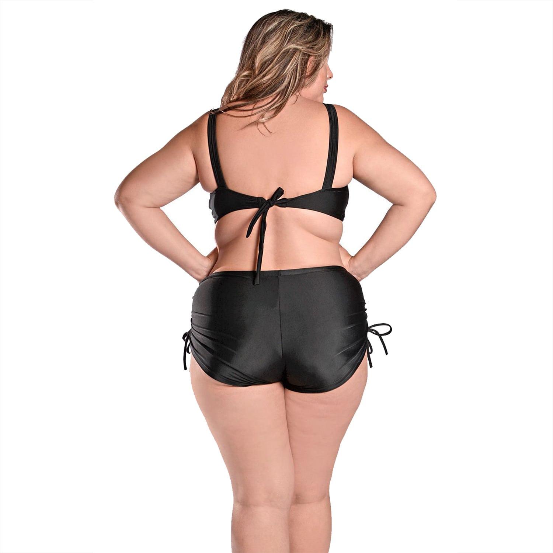 Biquíni Plus Size com Alças Largas e Short com Franzido Preto