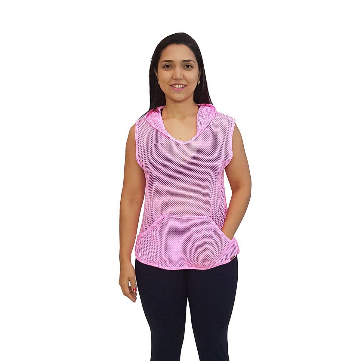 Blusa em Tela Sem Mangas com Capuz e Bolsos Rosa Fluorescente
