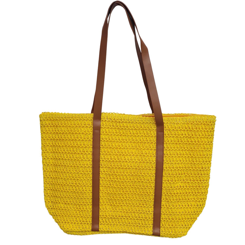 Bolsa de Praia com Textura de Palha Amarelo