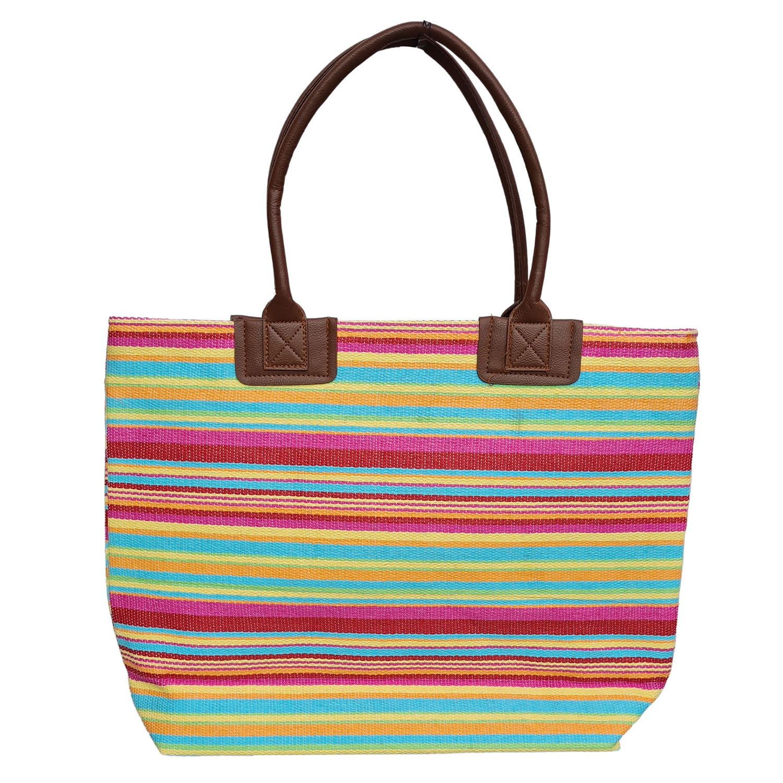Bolsa de Praia com Textura de Palha Listrado Pink