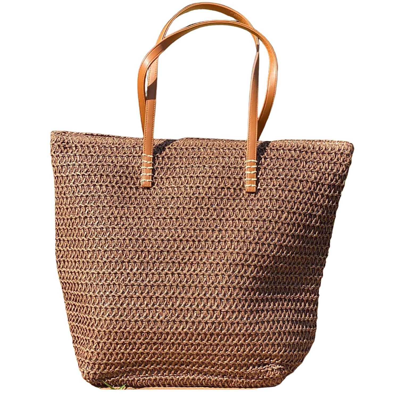 Bolsa de Praia com Textura de Palha Marron Escuro