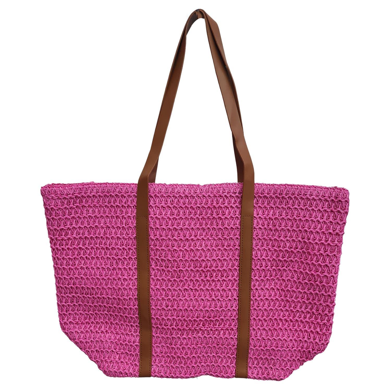 Bolsa de Praia com Textura de Palha Pink