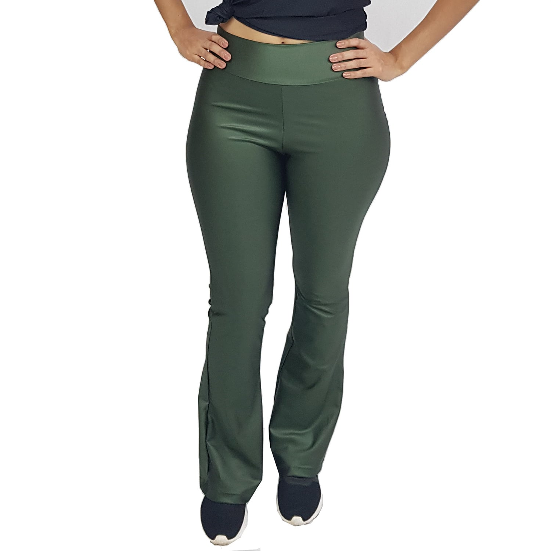 Calça Bailarina Flare com Bolsos e Cós Largo Cirrê Verde Militar