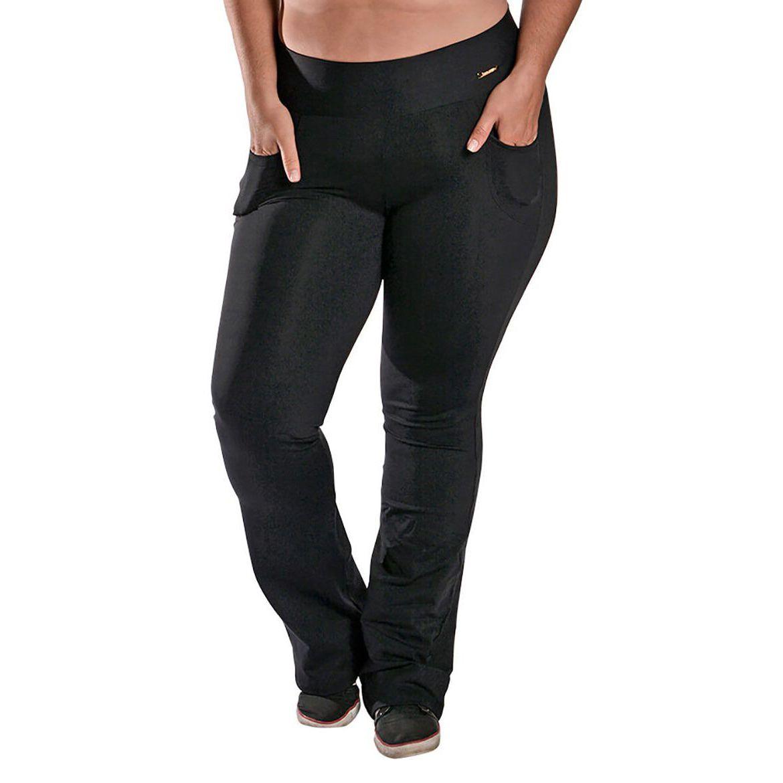 Calça Bailarina Flare Plus Size com Bolsos e Cós Largo New Zealand Preto