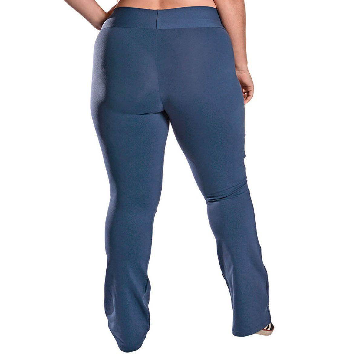 Calça Bailarina Flare Plus Size com Bolsos e Cós Largo Suplex Azul Marinho