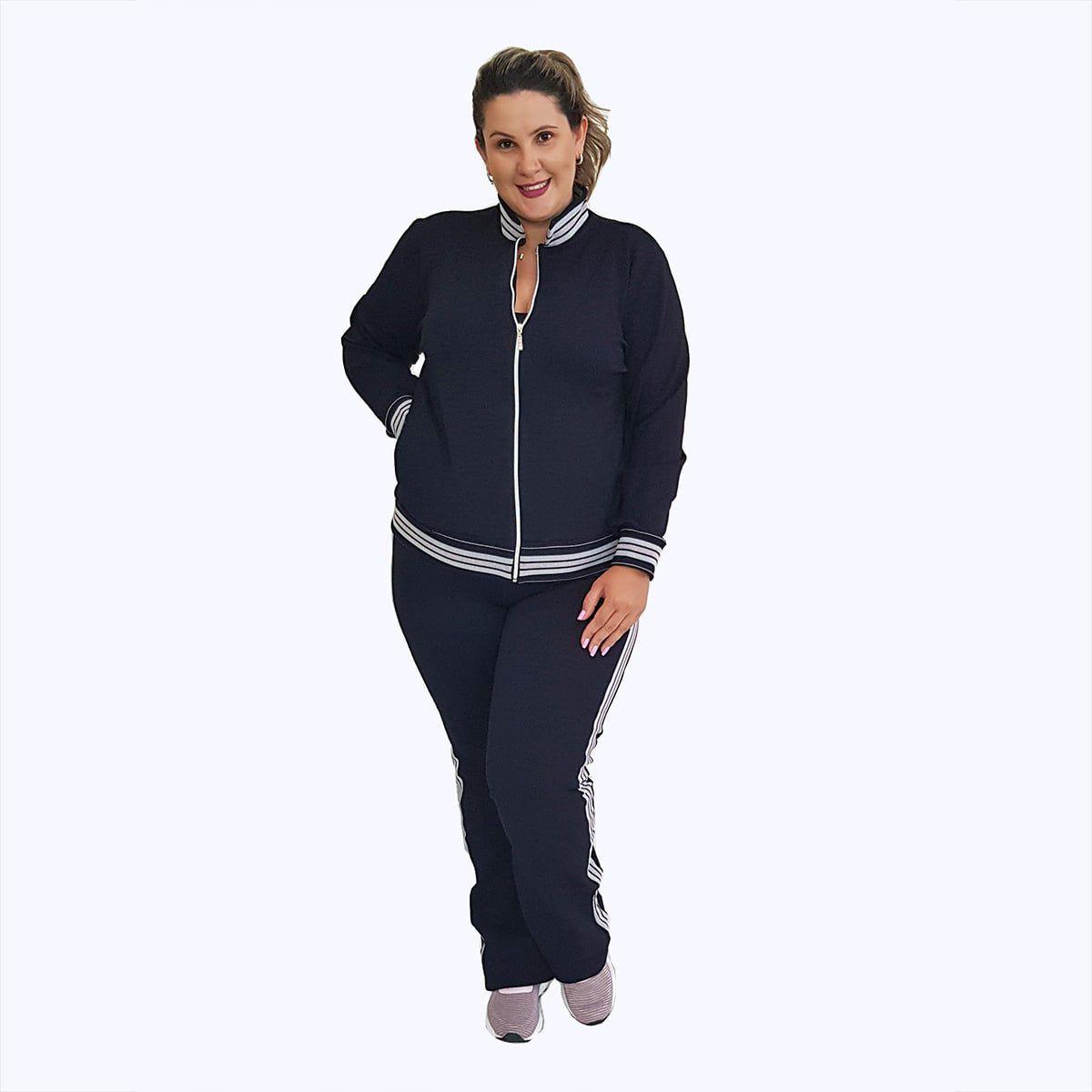 Calça de Jacquard Plus Size Preta com Detalhe