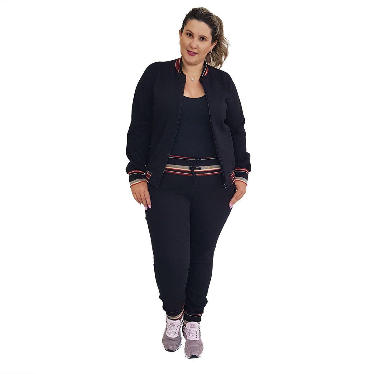 Calça de Moletom Plus Size Preta com Detalhe