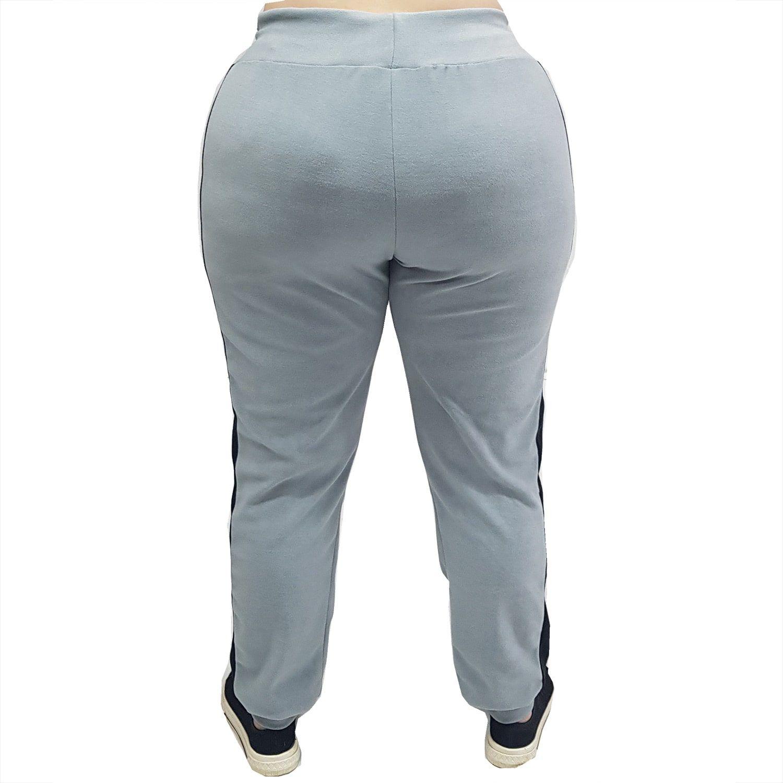 Calça Feminina Jogger Plus Size de Plush com Bolsos Cinza