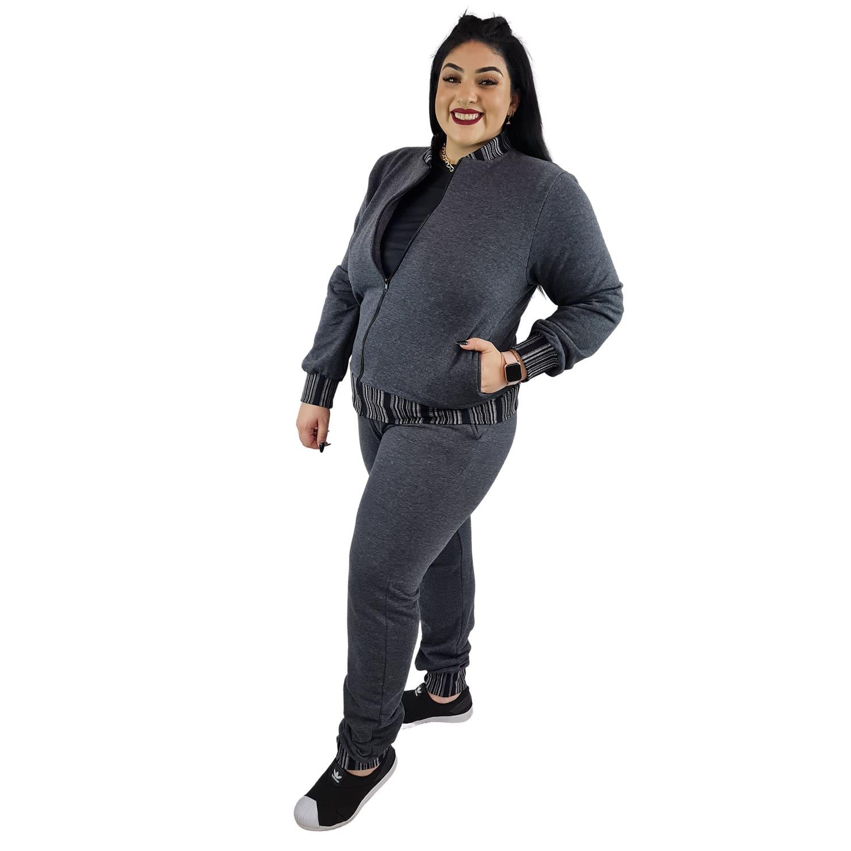 Calça Jogger Moletom Feminina Plus Size Cinza Escuro com Detalhe
