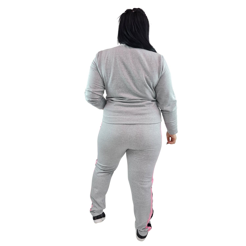Calça Jogger Moletom Feminina Plus Size Cinza Mescla com Detalhe