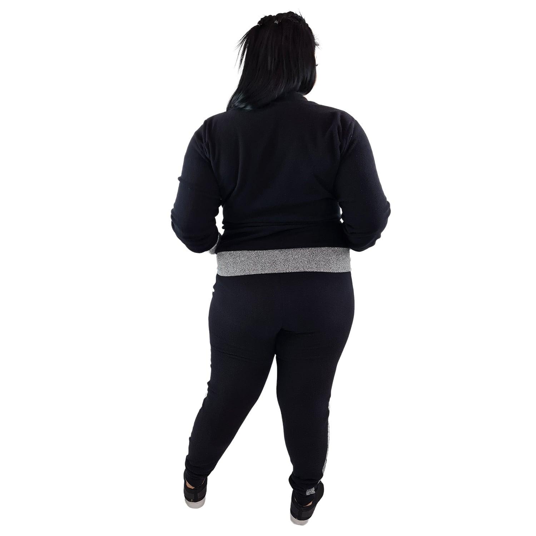 Calça Jogger Moletom Feminina Plus Size Preto e Cinza com Detalhe