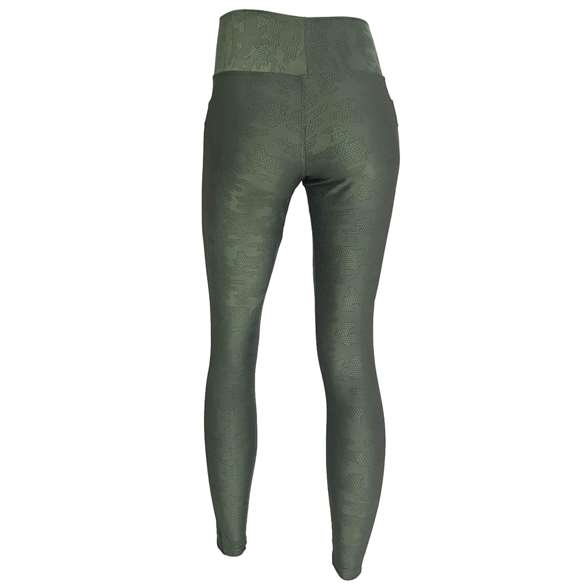 Calça Legging com Cós Largo Verde Militar Camuflado