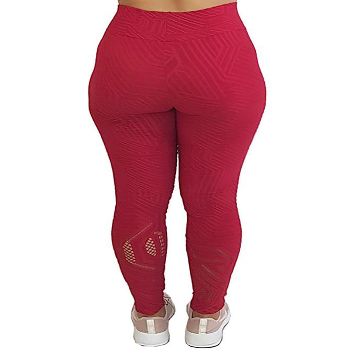 Calça Legging com Cós Alto e Detalhe Vazado na Perna Jacquard Vermelho