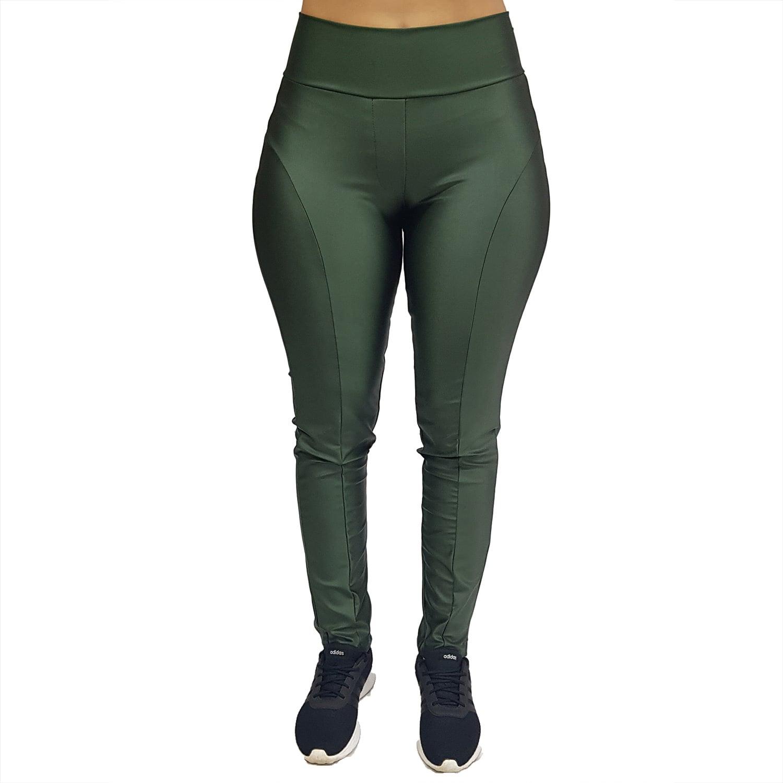 Calça Legging Montaria com Cós Largo Cirrê Verde Militar