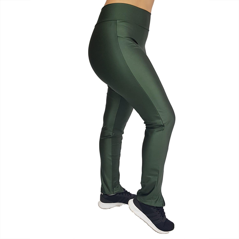 Calça Legging Montaria com Zíper e Cós Largo Cirrê Verde Militar