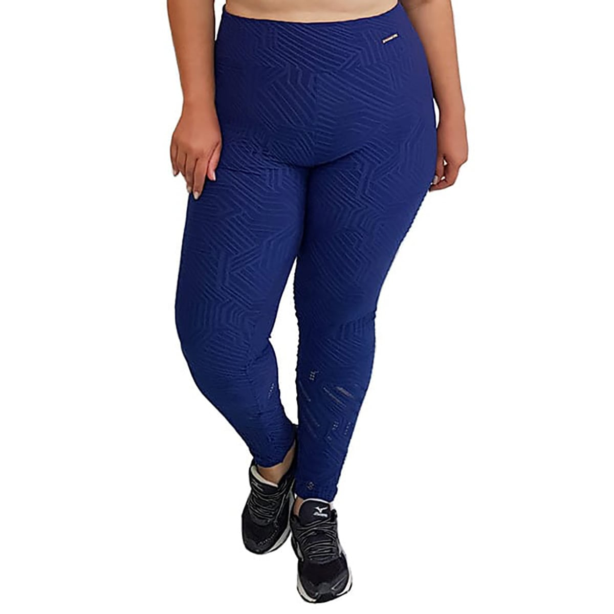 Calça Legging Plus Size com Cós Largo e Detalhe Vazado na Perna Jacquard Azul Marinho