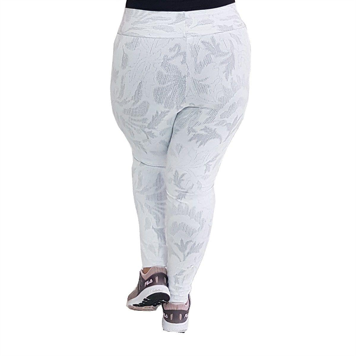 Calça Legging Plus Size com Cós Largo Jacquard com Relevo Branco