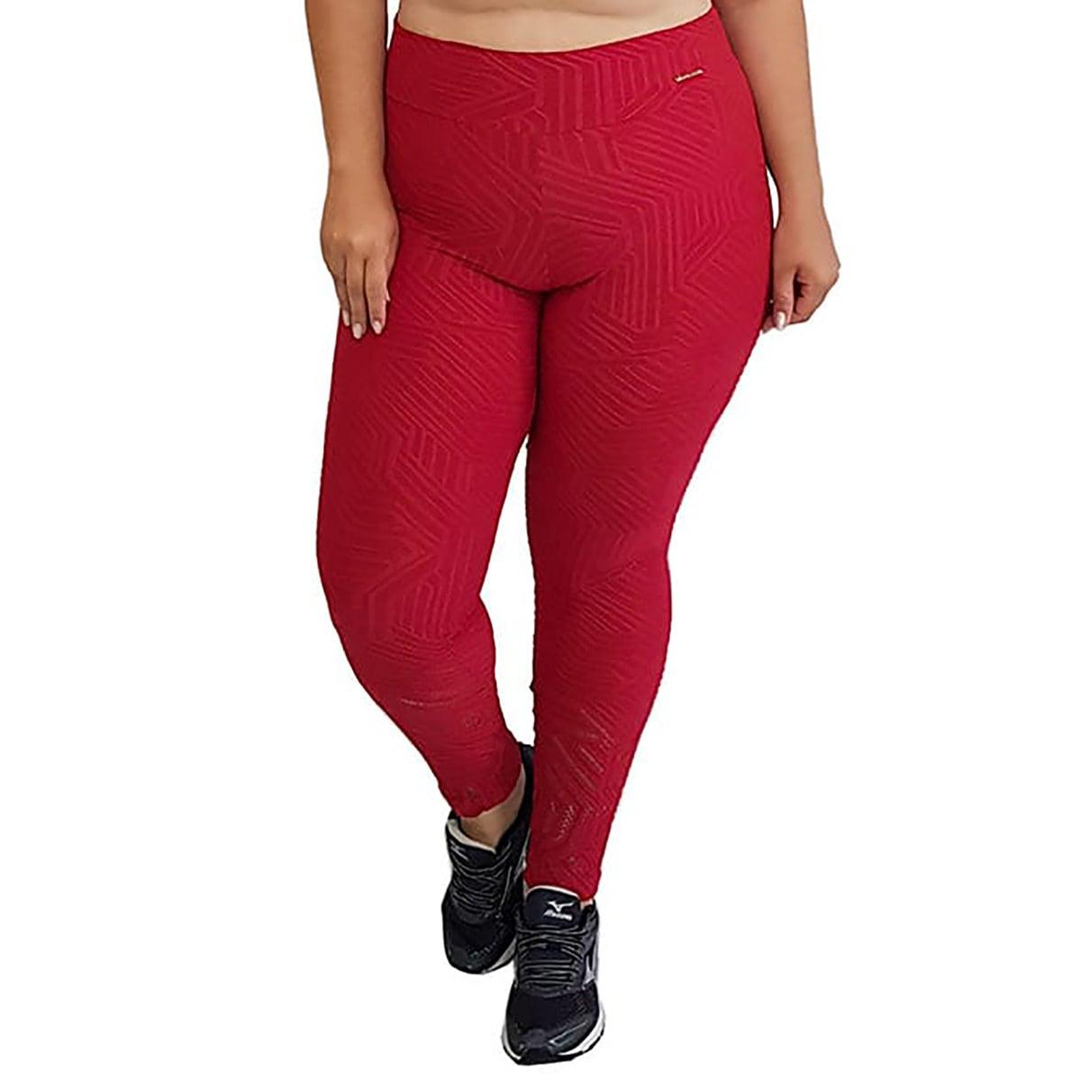 Calça Legging Plus Size com Cós Largo e Detalhe Vazado na Perna Jacquard Vermelho