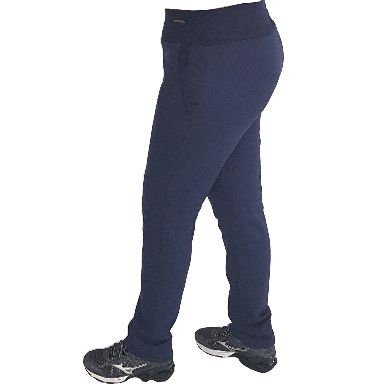 Calça Feminina Reta Plus Size de Moletom com Cós Alto e Bolsos Azul Marinho