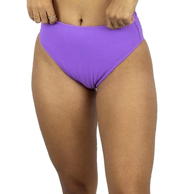 Calcinha de Biquíni Cintura Alta Hot Pant Canelado Lilas