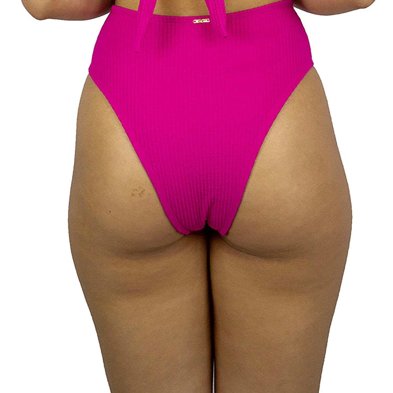 Calcinha de Biquíni Cintura Alta Hot Pant Canelado Pink