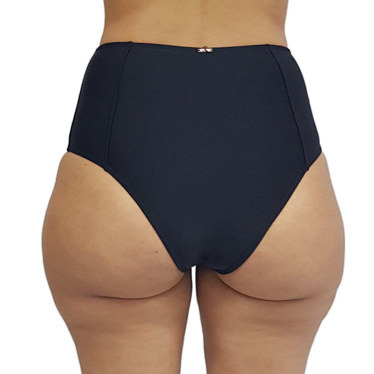 Calcinha de Biquíni Cintura Alta Hot Pant Preto